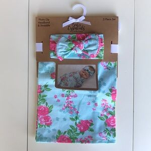 Baby Essentials Swaddle and headband